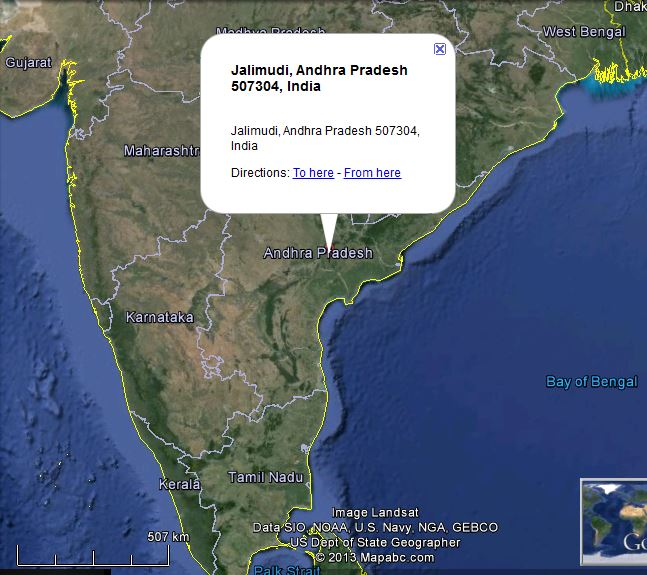 Picture: Map showing location of Jalimudi, Andhra Pradesh, India