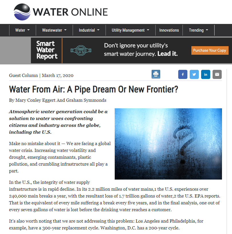 Picture of Water Online article titled,