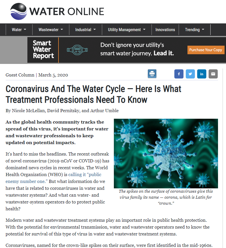 Picture of article in Water Online - Coronavirus And The Water Cycle...