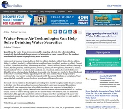 Picture: Screen shot of Water Online Article--Water-from-Air Technologies Can Help Solve Drinking Water Scarcities