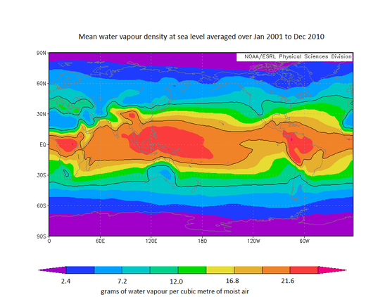 World map with water vapour density distribution